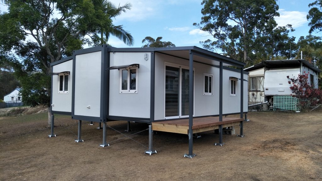 just delivered tiny / small home in cleared block of land unfurnished