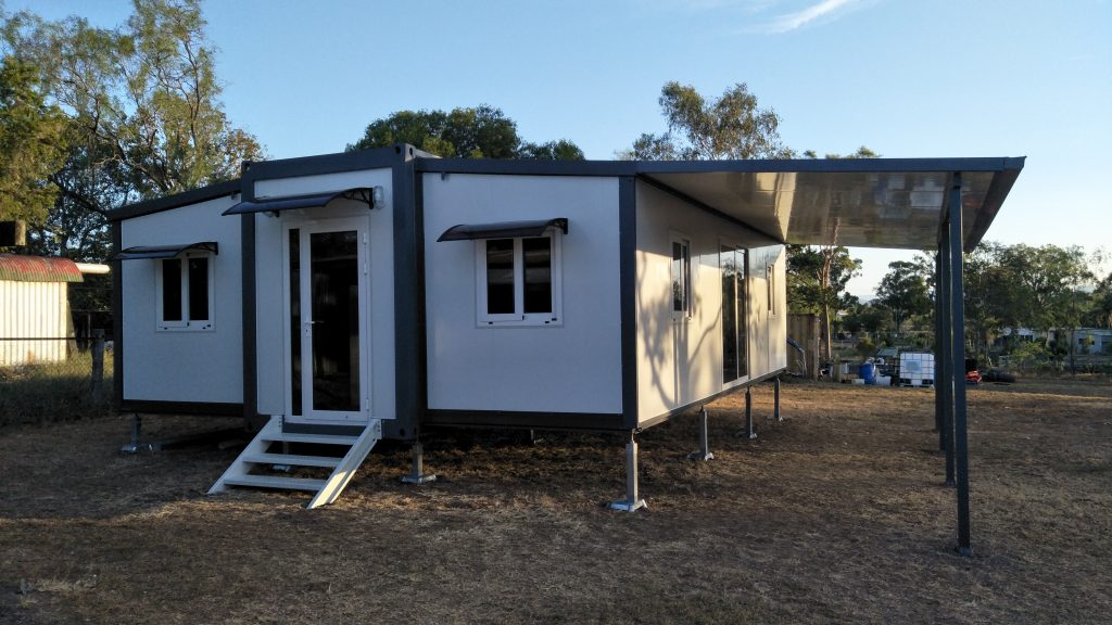 granny flat with awning no skirts on clear block of land