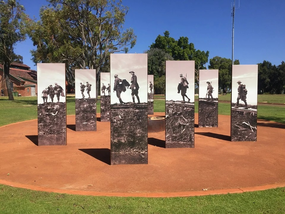 ANZAC monuments in park