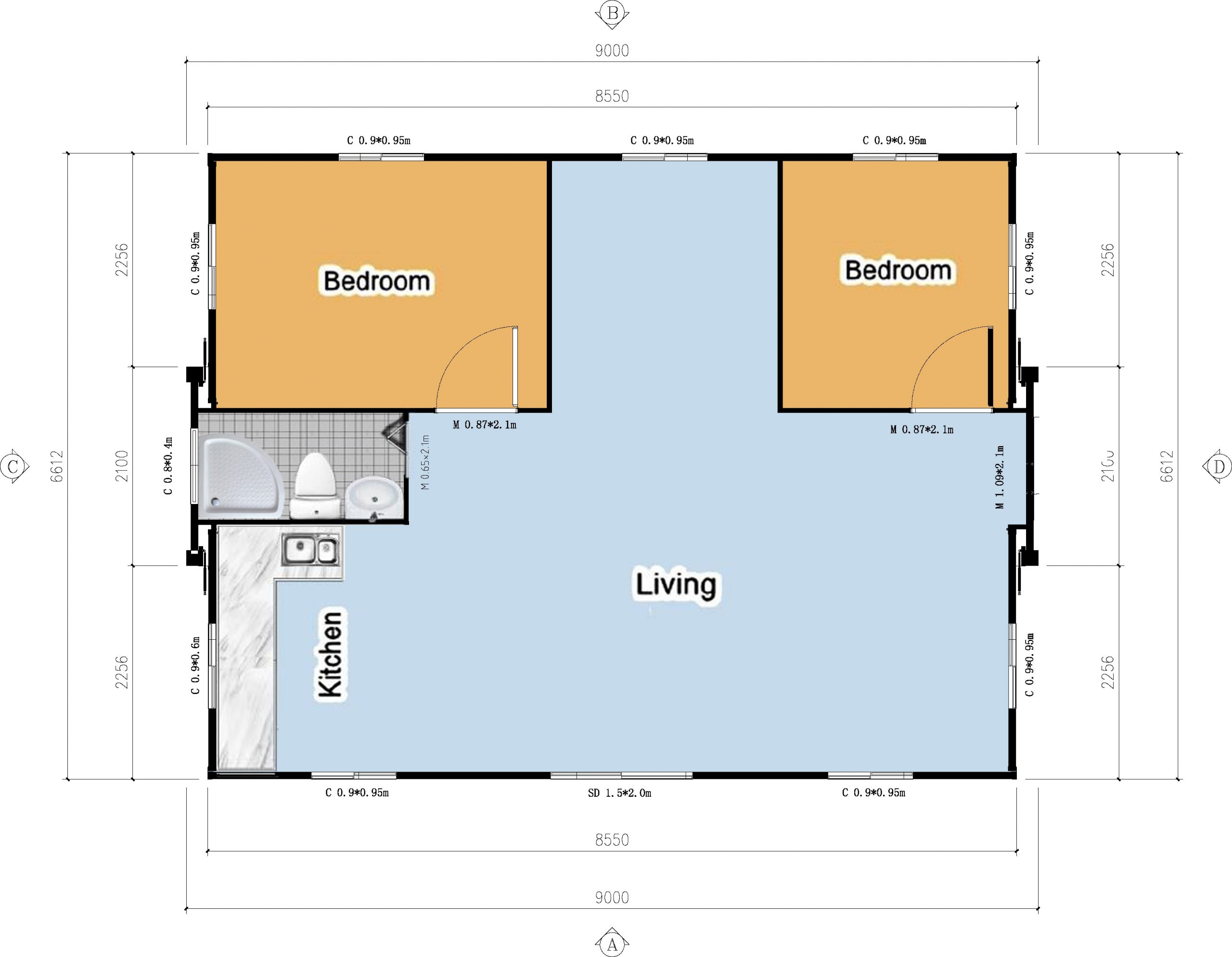 The Fraser 2 Bedroom with a study Granny Flat floor plan