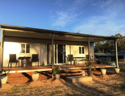 granny flat bathed in sunset