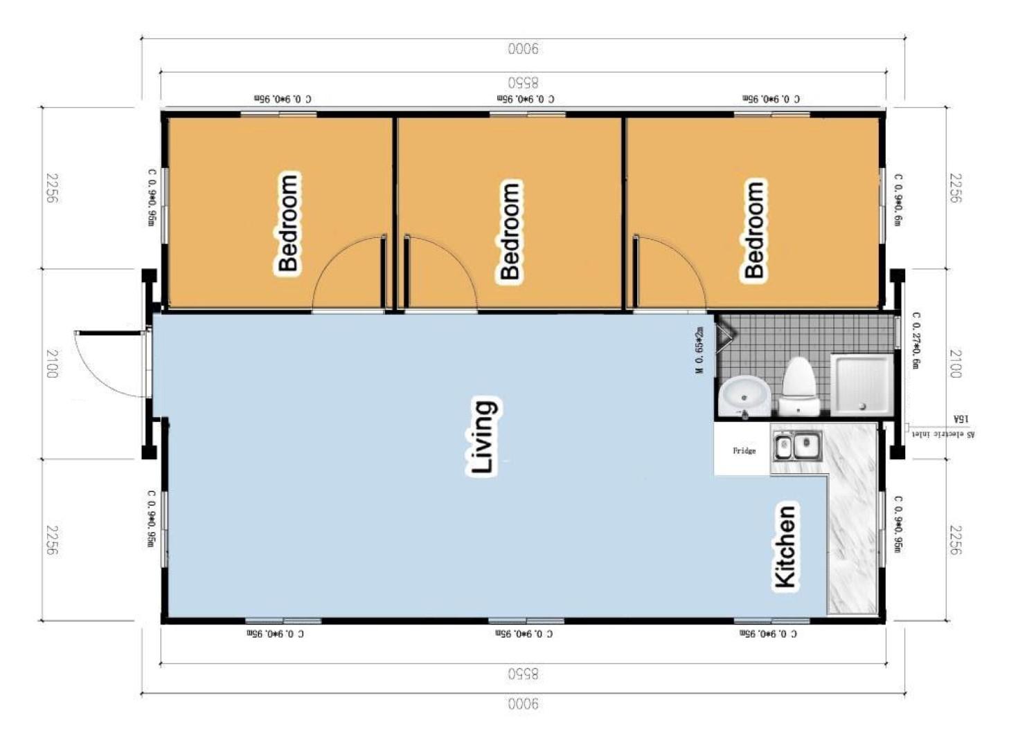 The Moreton 3 Bedroom Granny Flat floor plan
