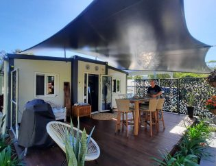 The Fraser 2 Bedroom Granny Flat front view with shade sail and deck